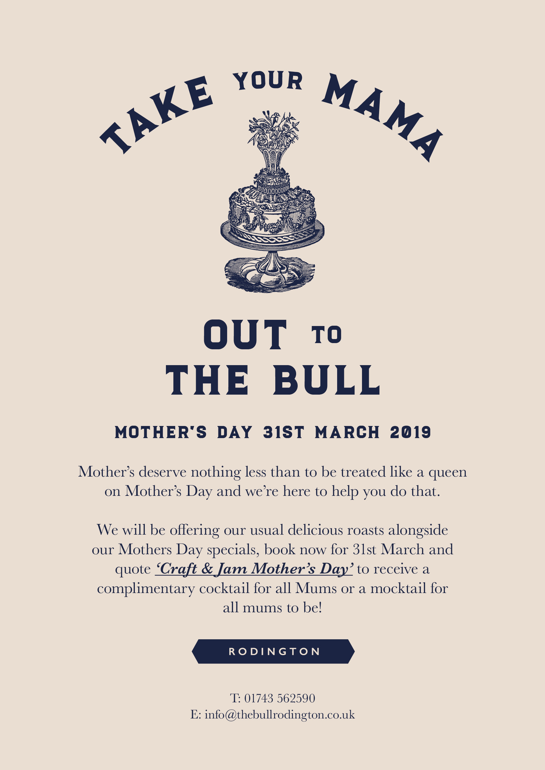 Mother's Day 31st March - The Bull